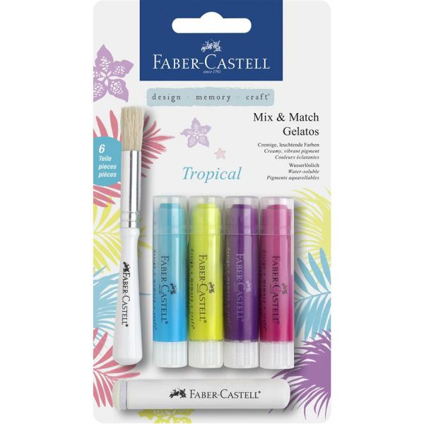 Set 4 Pasteluri Solubile Gelatos Tropical Faber-Castell