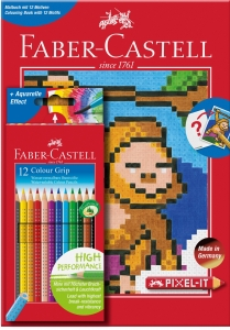 Set 12 Creioane Colorate Grip si Carte Colorat Pixel Faber-Castell