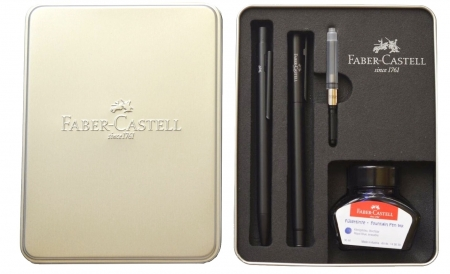 Set Stilou + Pix Neo Slim Metal Black Matt Faber-Castell