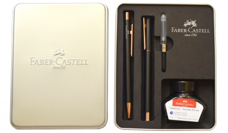 Set Stilou + Pix Neo Slim Metal Black Rosegolden Faber-Castell