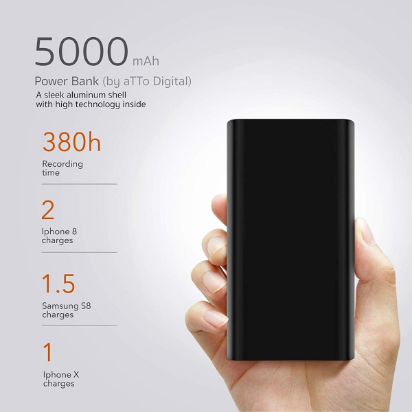 Reportofon Spion Ascuns in PowerBank, Autonomie 380 Ore, Functie de Activare Vocala, Sunet UltraClear,Memorie 8GB, Slim powerREC