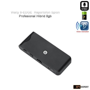 Reportofon Spy Profesional Hibrid cu Activare Vocala + Microfon Extern Wireless SQ7V, Autonomie 32 de Ore, Sunet UltraClear, Memorie 8GB, Model Wally 8-EDGE