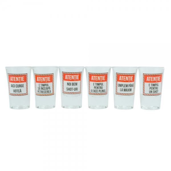 Set 6 Pahare Shot-uri Attention 35 ML