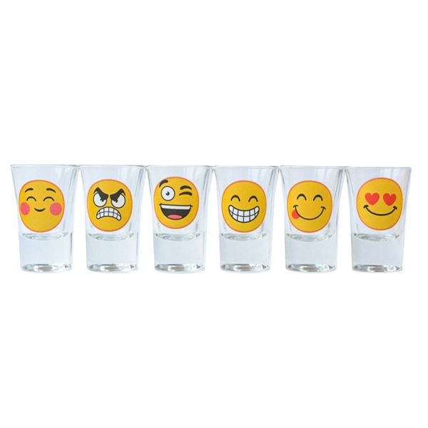 Set 6 Pahare Shot-uri Funny Emoji 35 ML