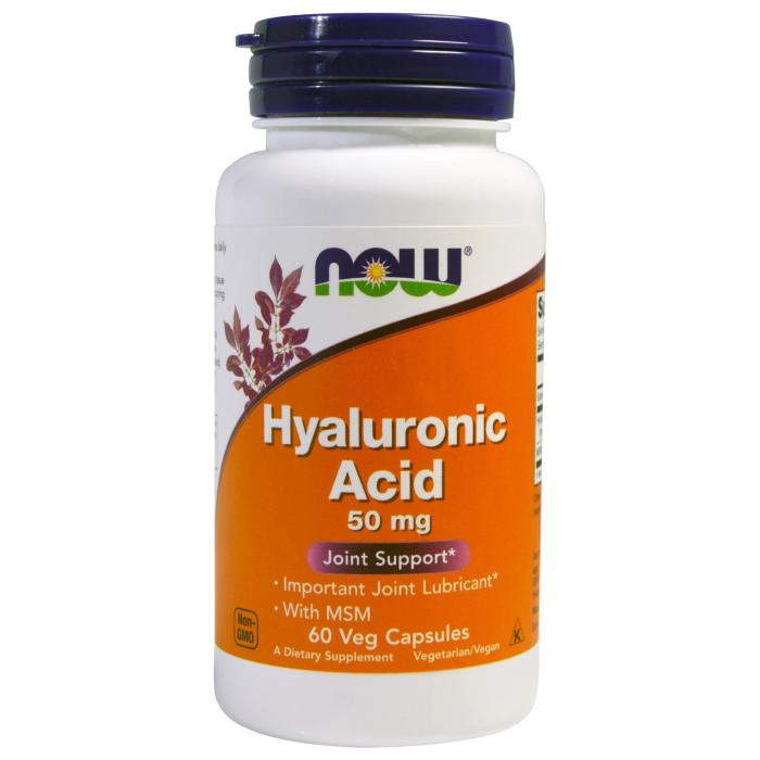 Now Hyaluronic Acid + MSM 50 mg 60 vcaps