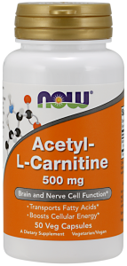 Now Acetyl L-carnitine 500 mg 50 vcaps