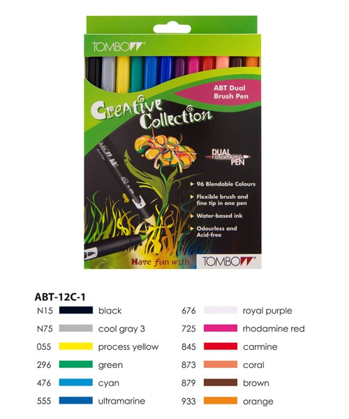 ABT Dual Brush Pen Set 12 Colours Primary Colours  Tombow